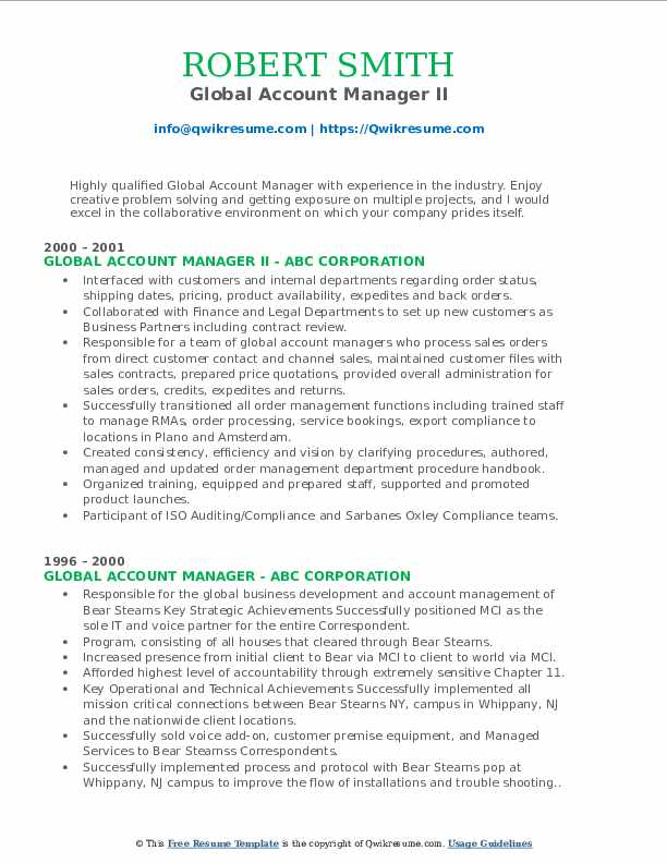 Global Account Manager II Resume Format