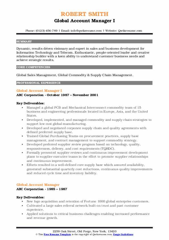 global account manager resume samples