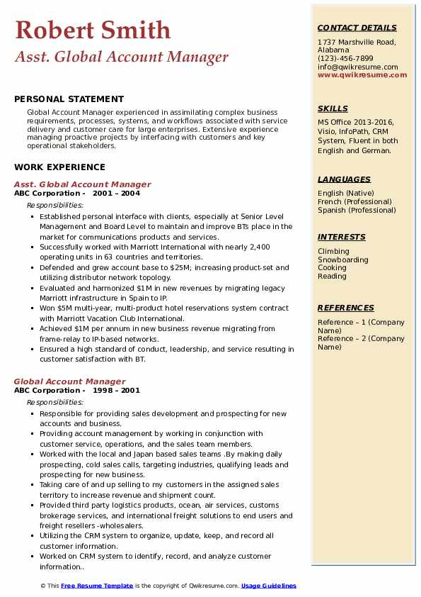 Asst. Global Account Manager Resume Sample