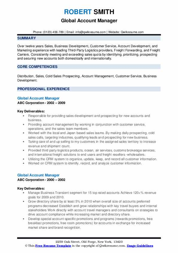 Global Account Manager Resume example