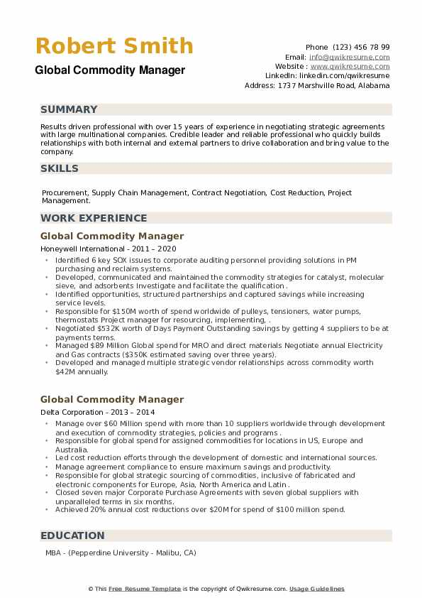 Global Commodity Manager Resume example