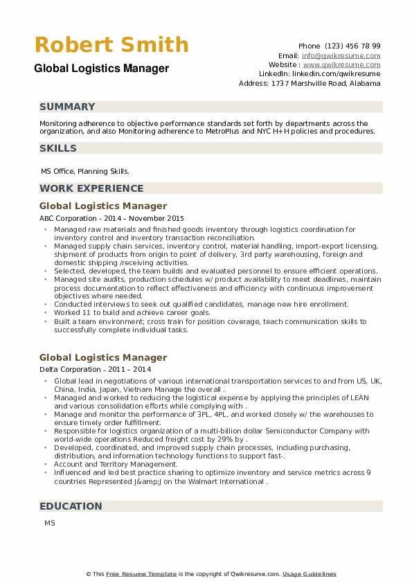 Global Logistics Manager Resume example