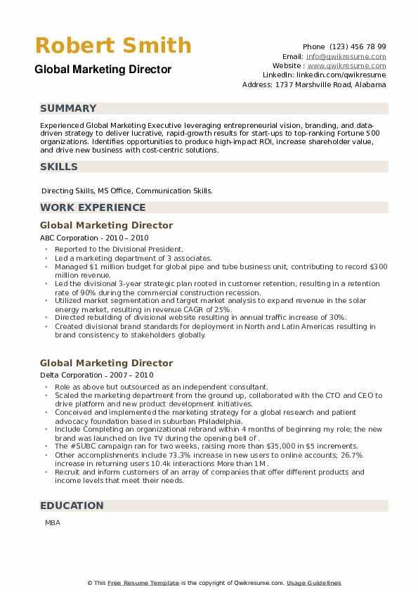 Global Marketing Director Resume example