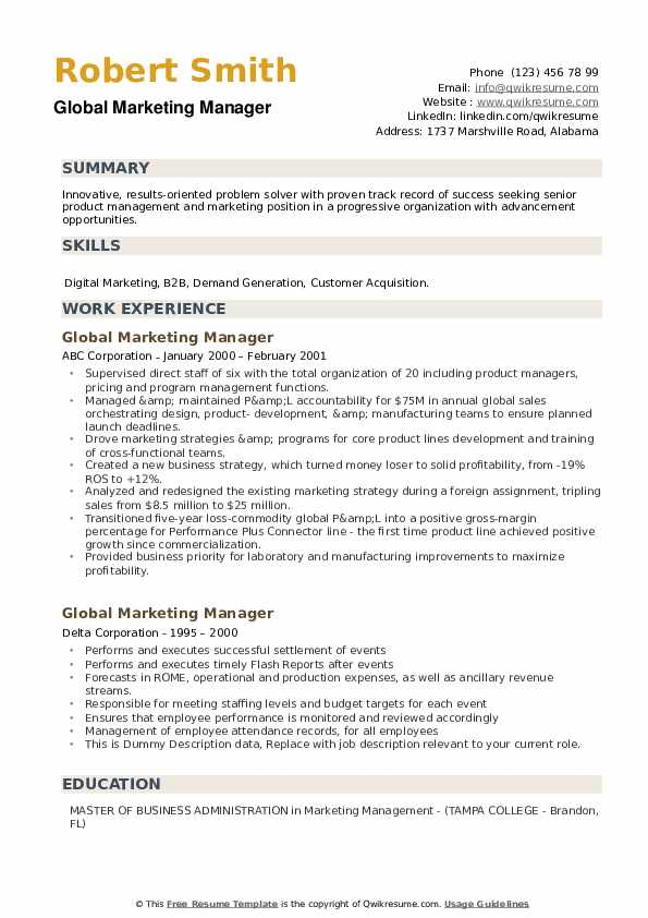 Global Marketing Manager Resume example