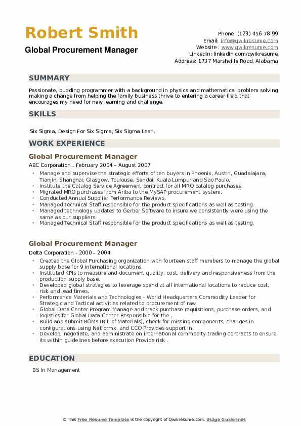 Global Procurement Manager Resume example