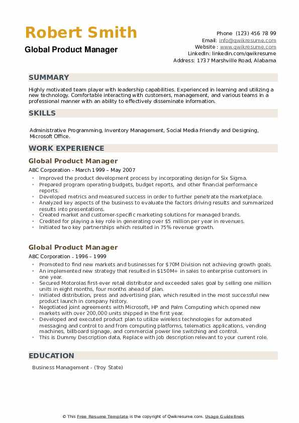 Global Product Manager Resume example