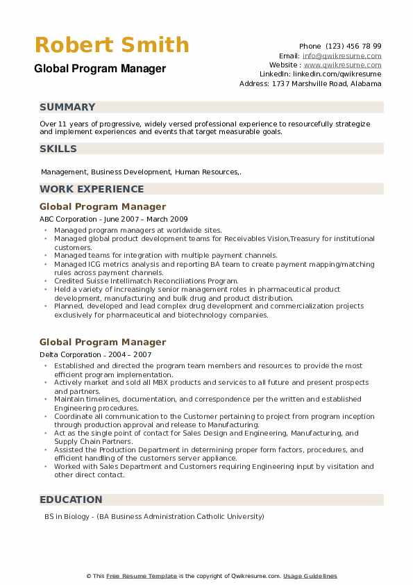 Global Program Manager Resume example