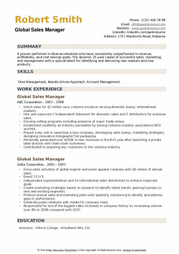 Global Sales Manager Resume example