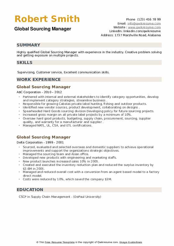 Global Sourcing Manager Resume example