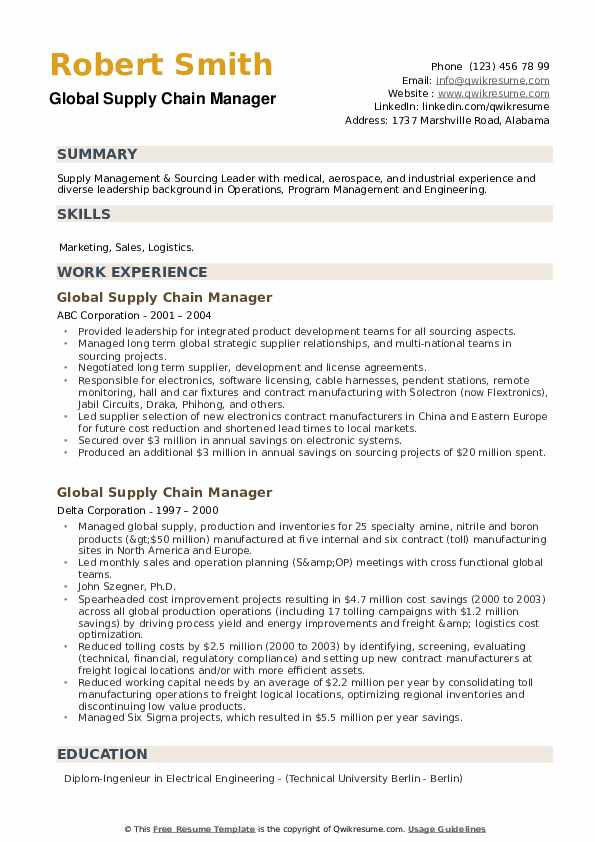 Global Supply Chain Manager Resume example