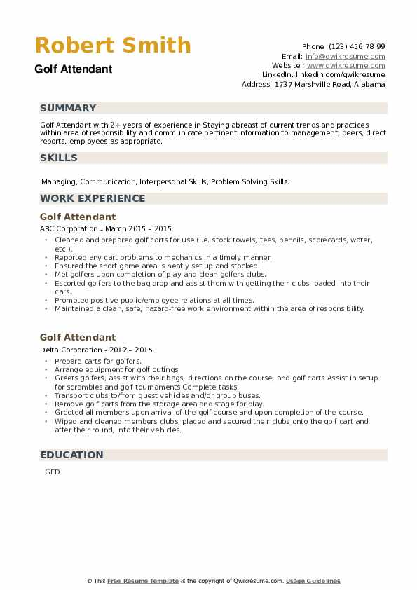 Golf Attendant Resume example