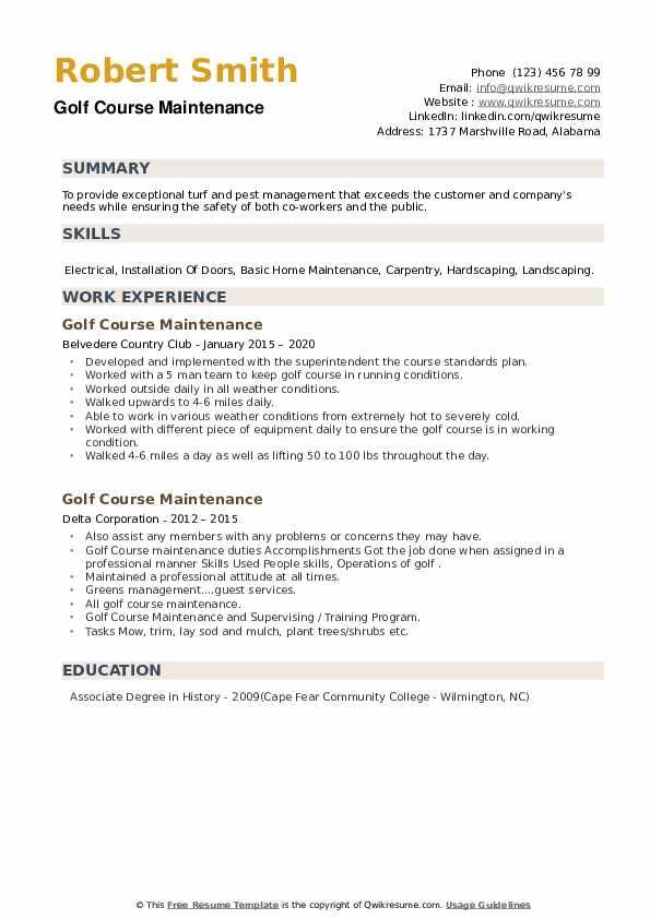 Golf Course Maintenance Resume example