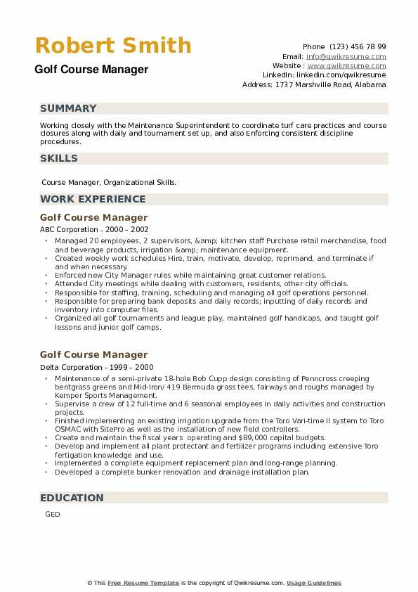 Golf Course Manager Resume example