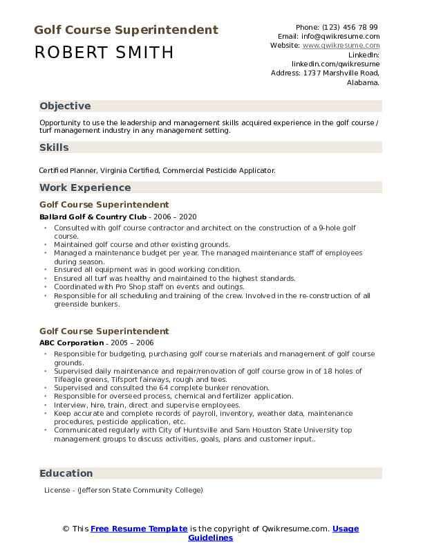 Golf Course Superintendent Resume example