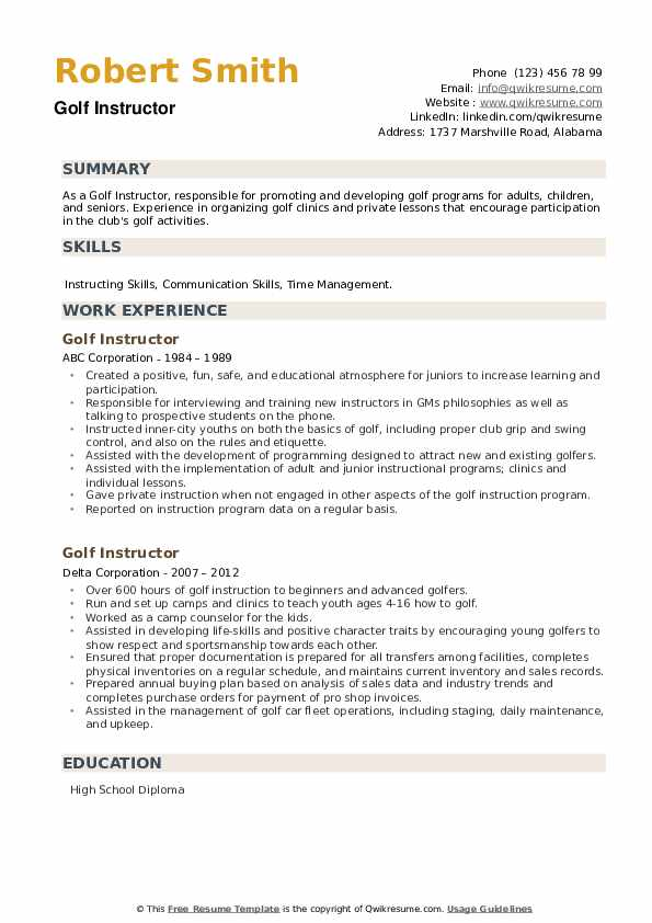 Golf Instructor Resume example
