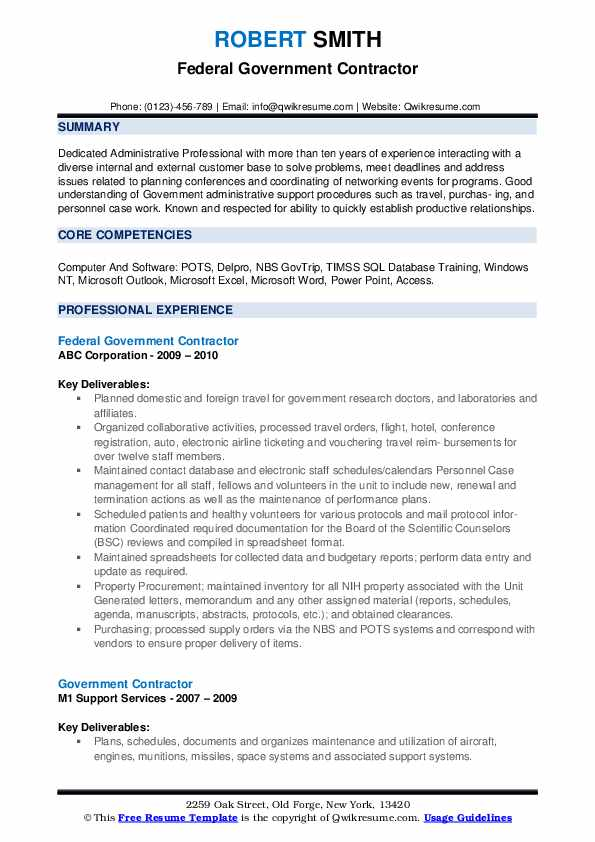 Government Contractor Resume Samples Qwikresume