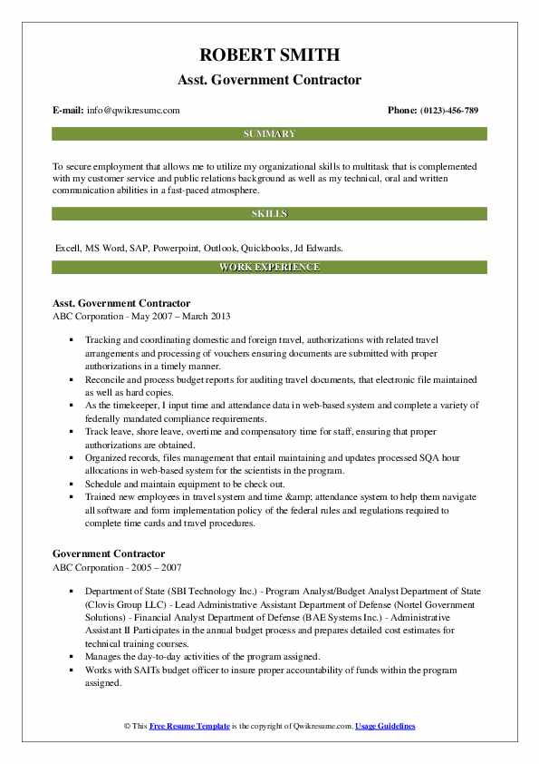 Asst. Government Contractor Resume Format