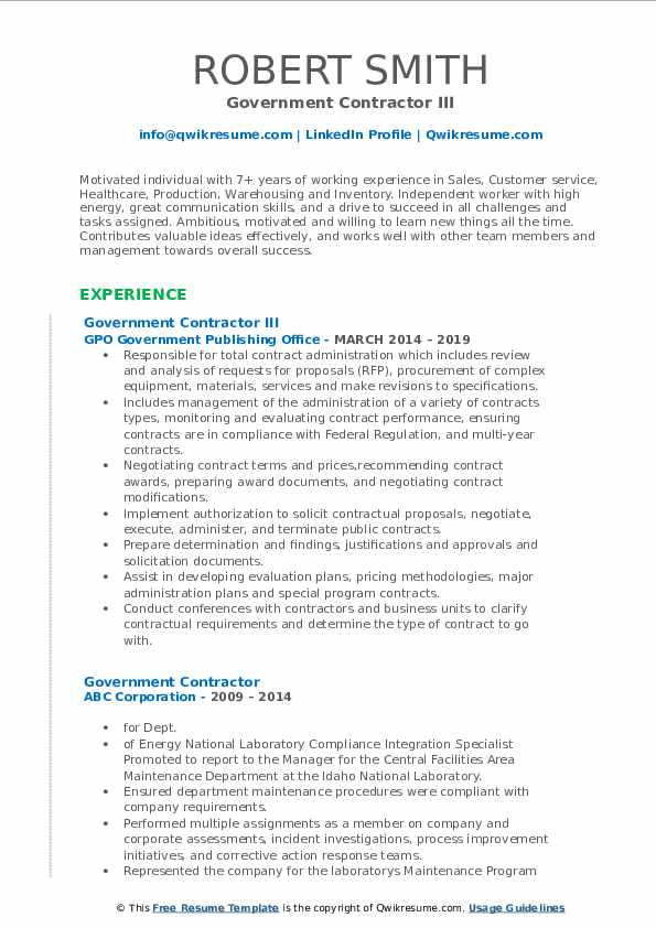 Government Contractor III Resume Example