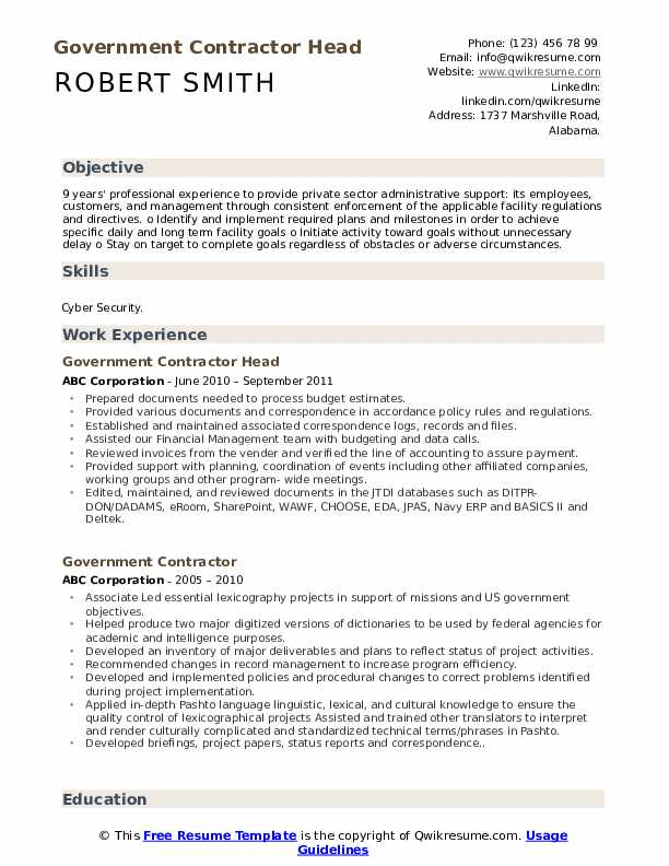 Government Contractor Head Resume Template