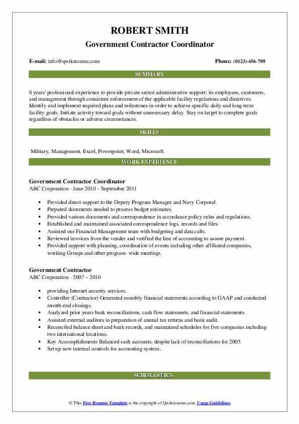 Government Contractor Coordinator Resume Model