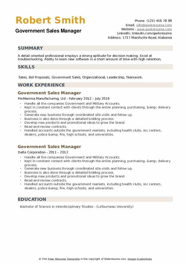 Government Sales Manager Resume example