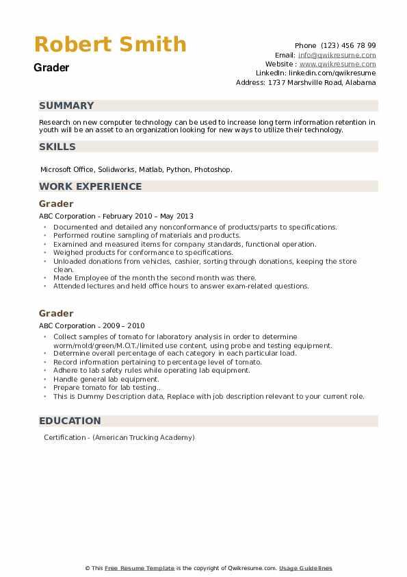 Grader Resume example