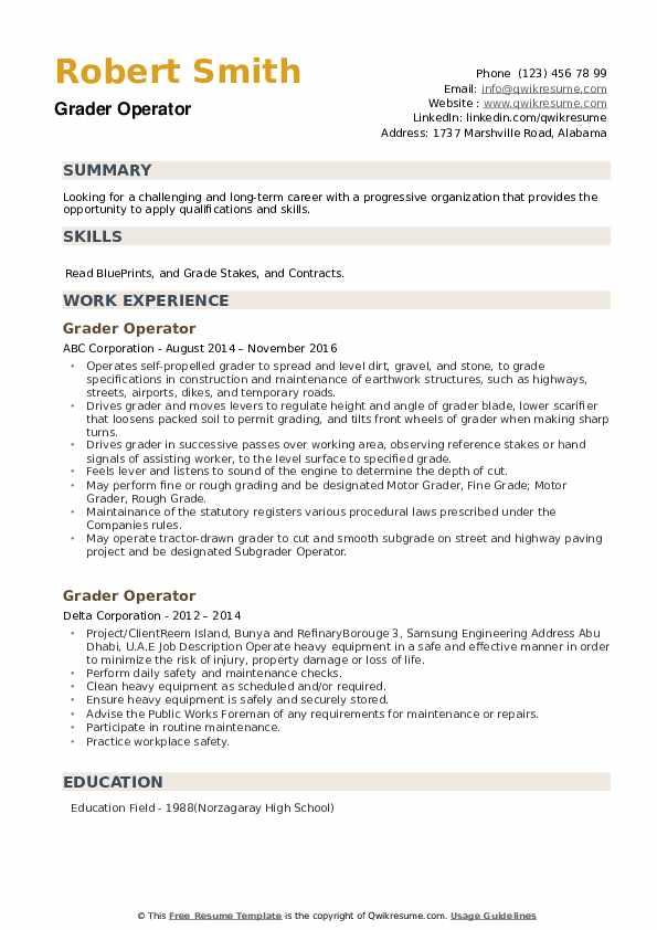 Grader Operator Resume example
