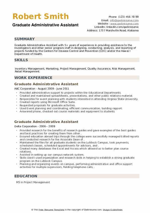 Graduate Administrative Assistant Resume example