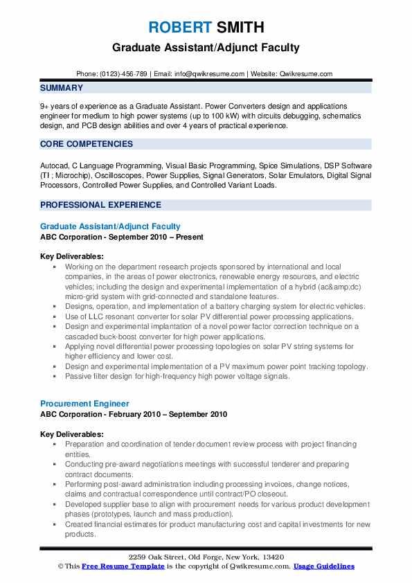 Graduate Assistant/Adjunct Faculty Resume Format