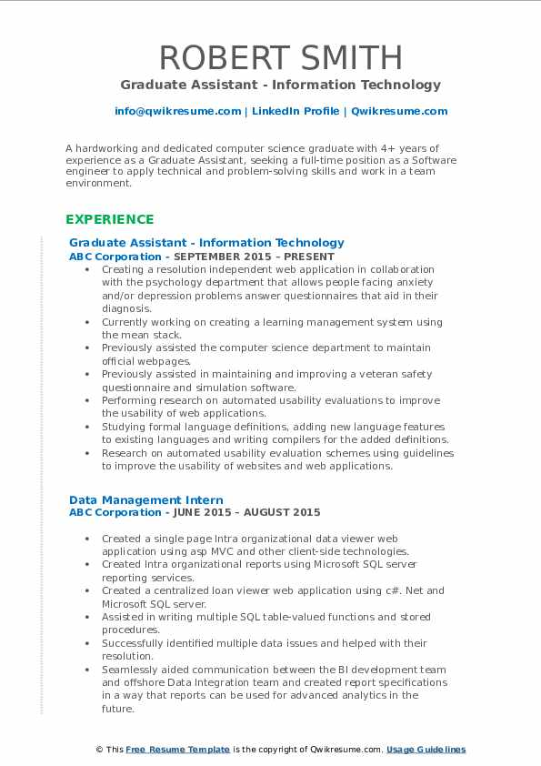 Graduate Assistant - Information Technology Resume Example