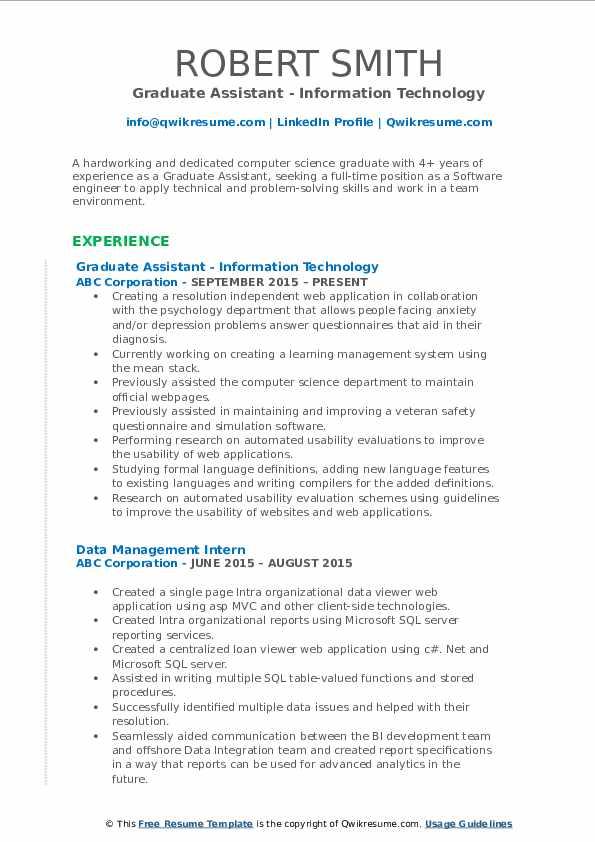 graduate assistant resume samples  qwikresume