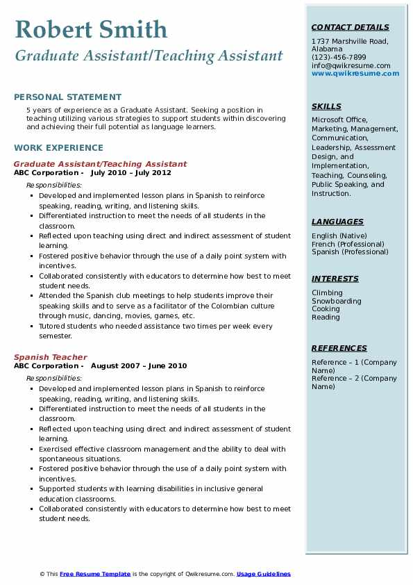 Graduate Assistant/Teaching Assistant Resume Template