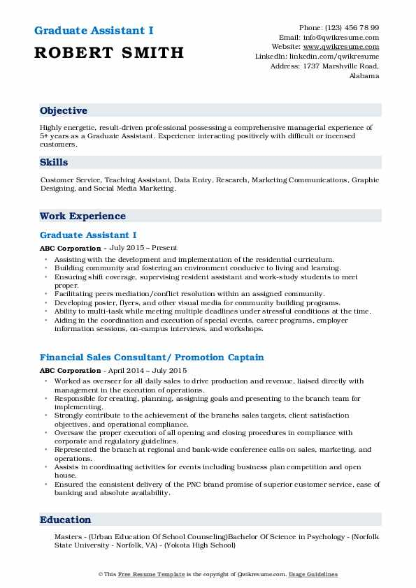 objective for graduate assistant resume