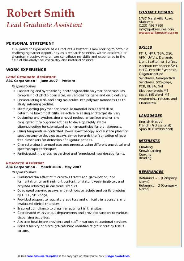 Lead Graduate Assistant Resume Sample