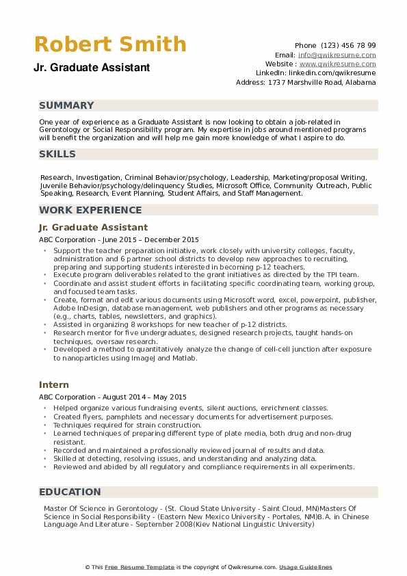 Graduate Assistant Resume example