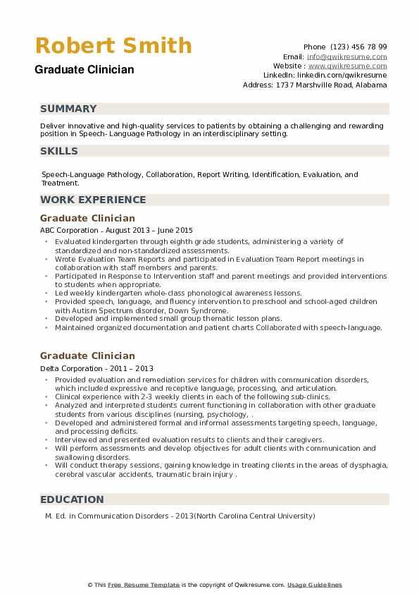 Graduate Clinician Resume example