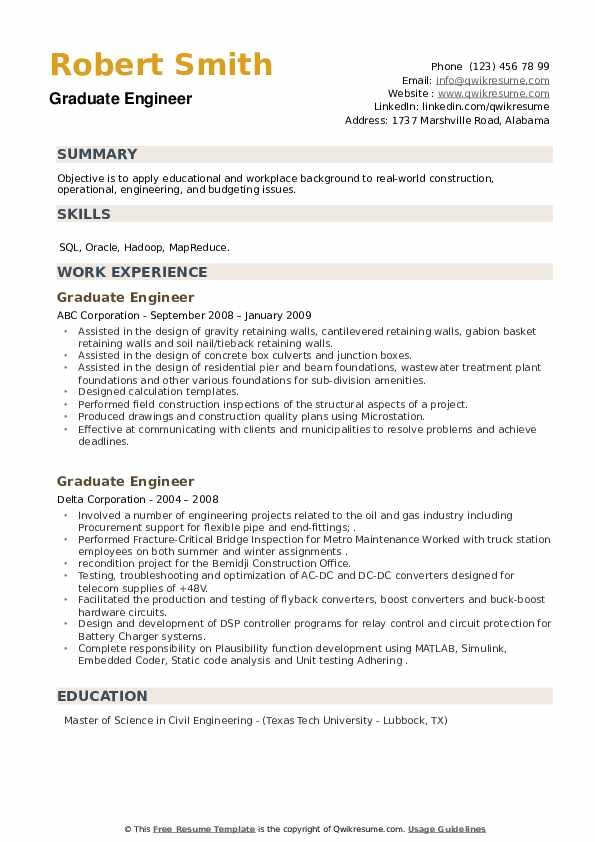 Graduate Engineer Resume example