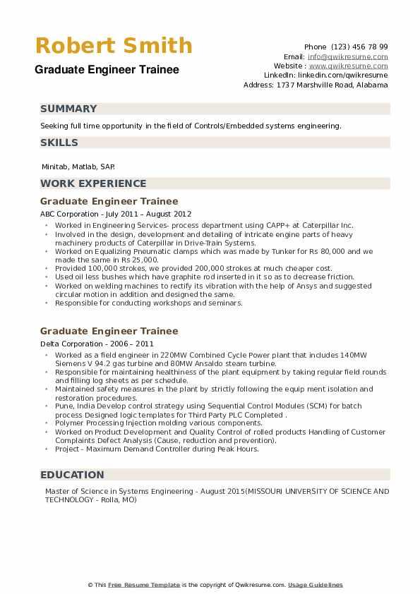 Graduate Engineer Trainee Resume example