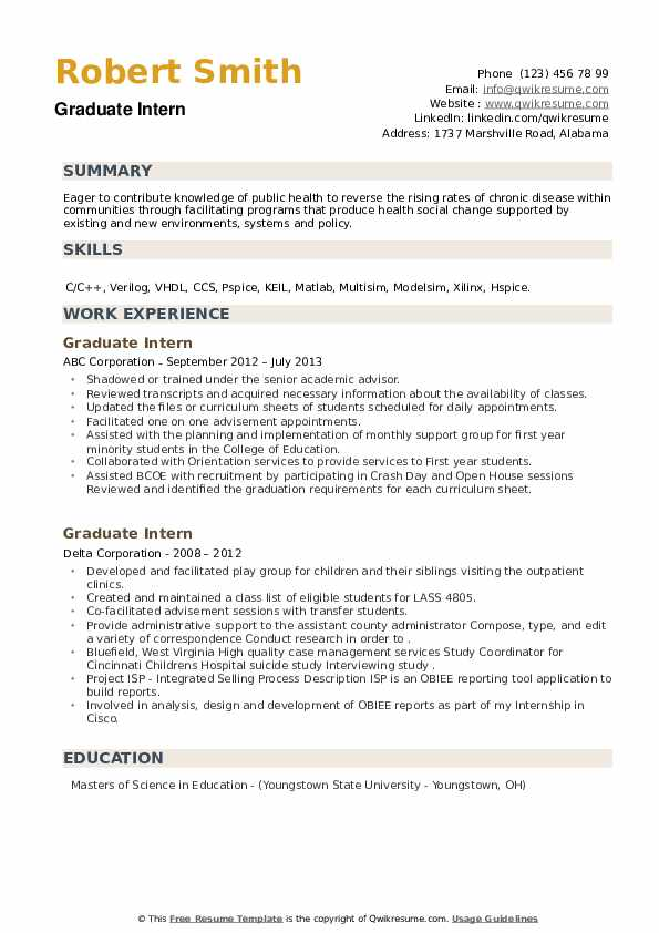 Graduate Intern Resume example