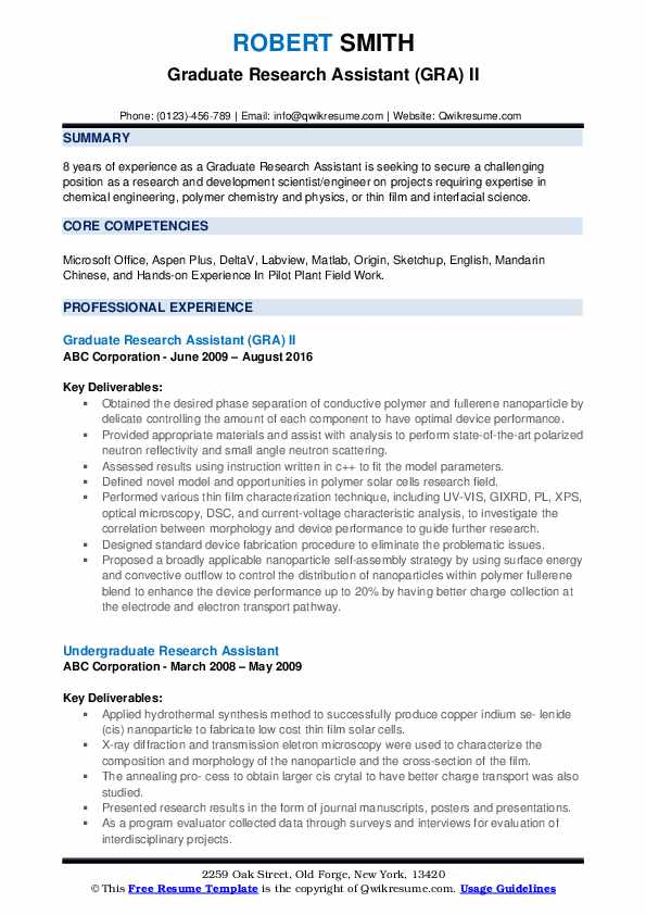 Graduate Research Assistant (GRA) II Resume Model