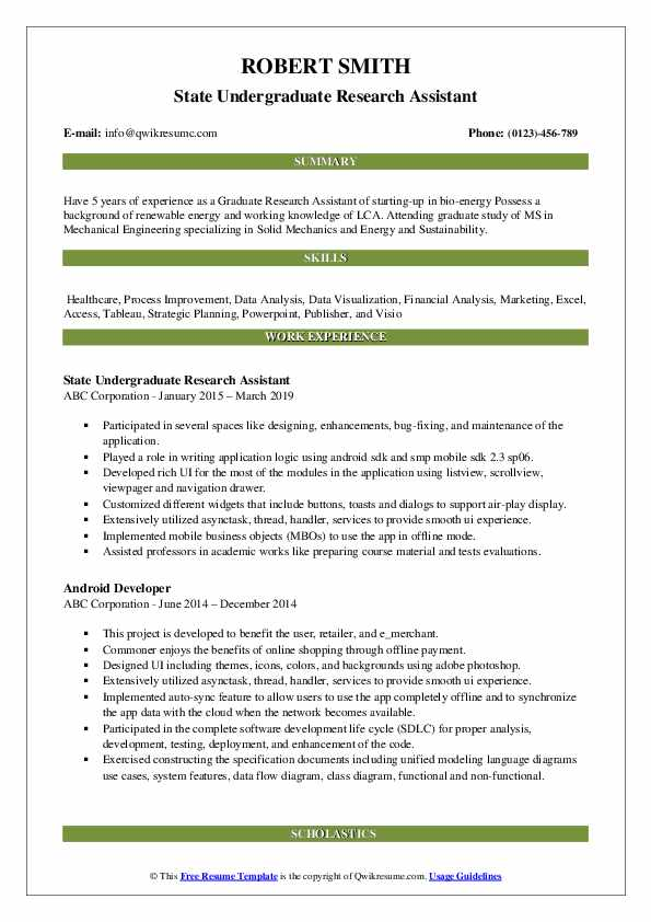 State Undergraduate Research Assistant Resume Model