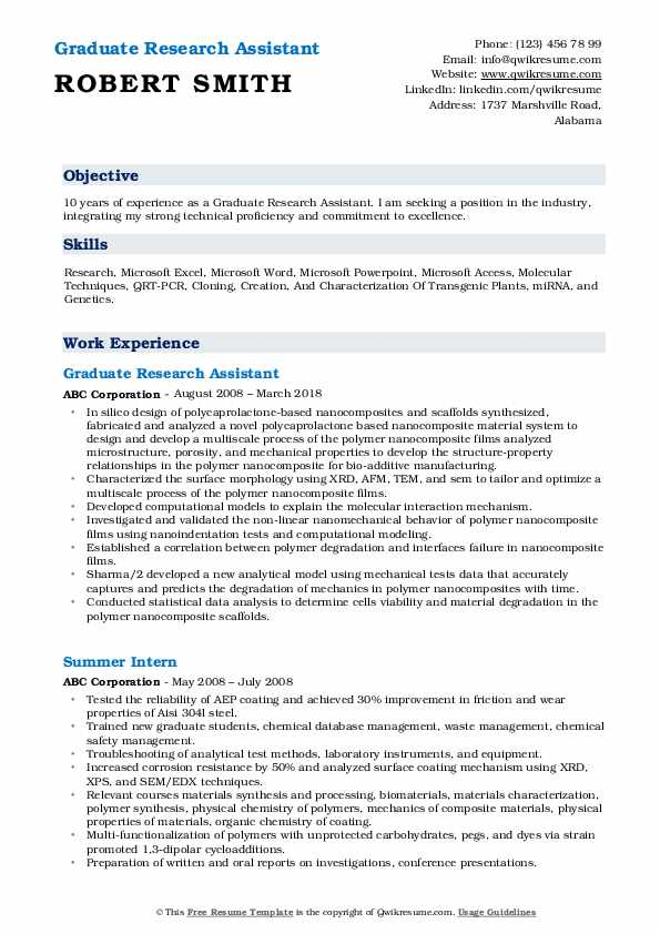 Graduate Research Assistant Resume Format