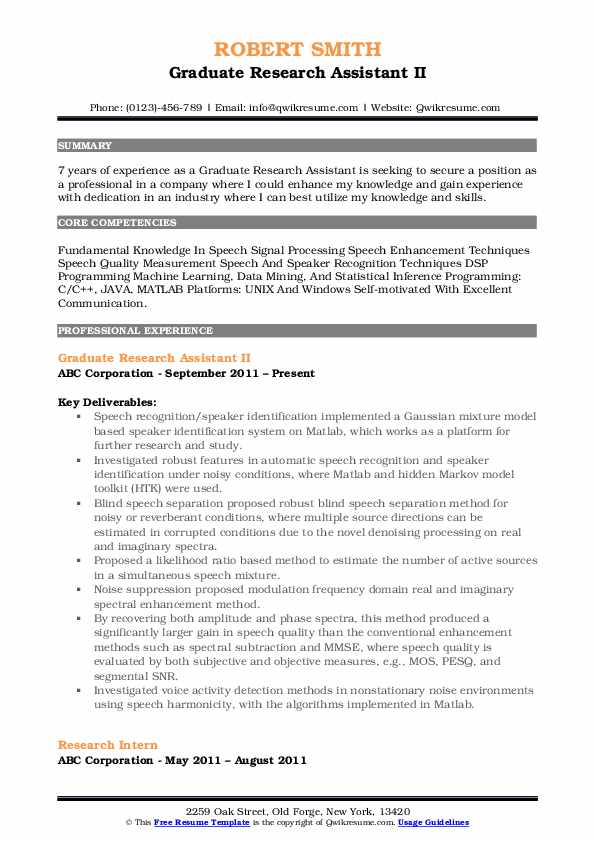 Graduate Research Assistant II Resume Model