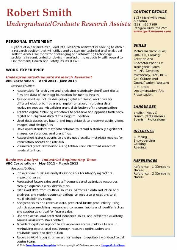 Undergraduate/Graduate Research Assistant Resume Example