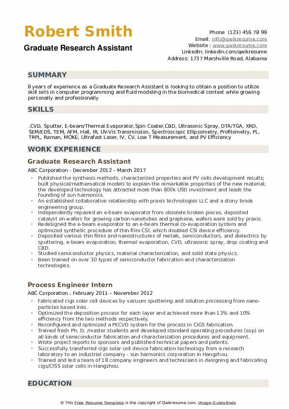 Graduate Research Assistant Resume example