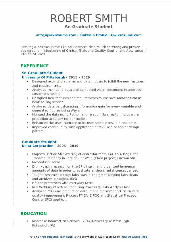 graduate student resume samples  qwikresume