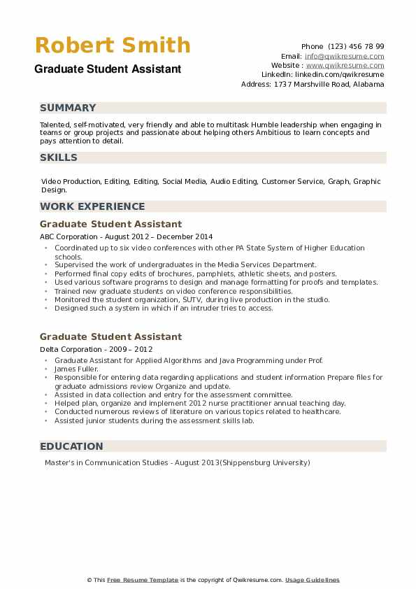 Graduate Student Assistant Resume example