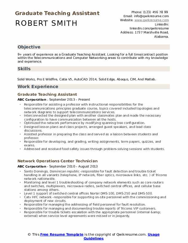 Graduate Teaching Assistant Resume Format