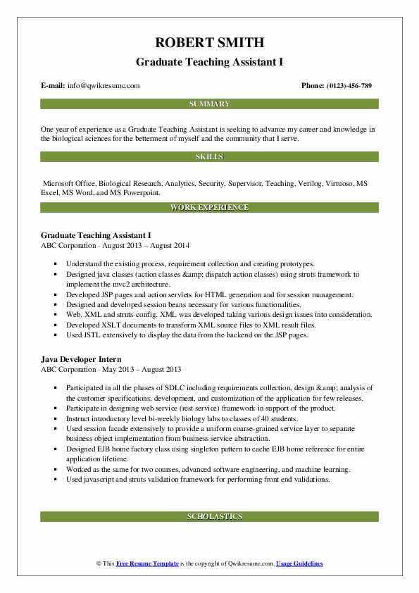 Graduate Teaching Assistant I Resume Model