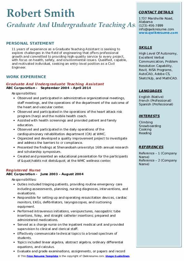 Graduate And Undergraduate Teaching Assistant Resume Model